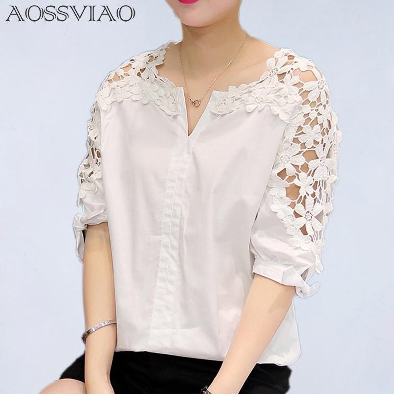 Summer Women Lace Blouses 2016 Fashion Woman Lace Shirt Hollow Out Casual Short Sleeve Women Shirts