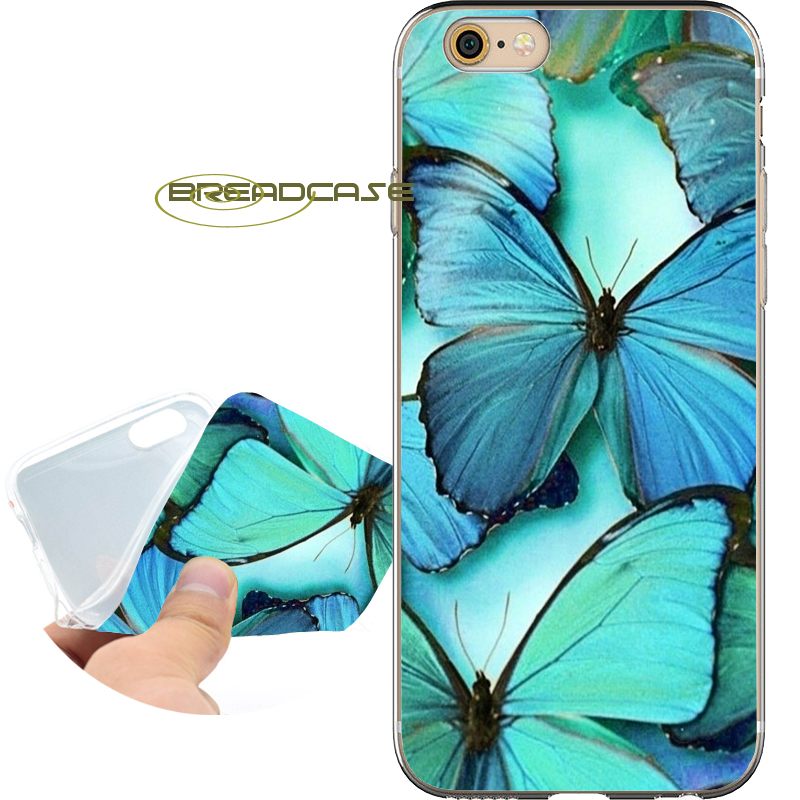 Coque Blue Butterfly Soft Clear TPU Case for iPhone X 8 7 6S 6 Plus 5S SE 5 5C 4S 4 Case for iPod Touch 6 5 Cover Silicone.