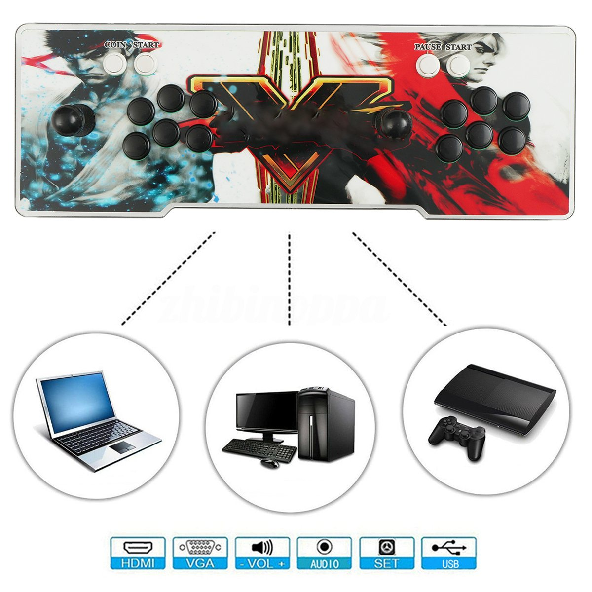 2000 In 1 Heroes Box 5 HDMI Arcade Classic Video Game Console Fight Games Gamepad HD VGA double joystick family arcade games console pandora s box 4s 815 in 1 game board