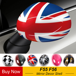 Image 1 - Outside Door Rearview Mirror Decoration Protector Shell Cover Housing For Mini Cooper One S JCW F56 F55 Car styling Accessories