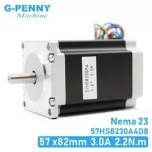 نيما 23 محرك خطوي بالتحكم الرقمي بالكمبيوتر 57x82 مللي متر 3A 2.2N.m D = 8 مللي متر 6.35 مللي متر 315Oz in Nema23 CNC راوتر آلة نقش بالحفر 3D طابعة