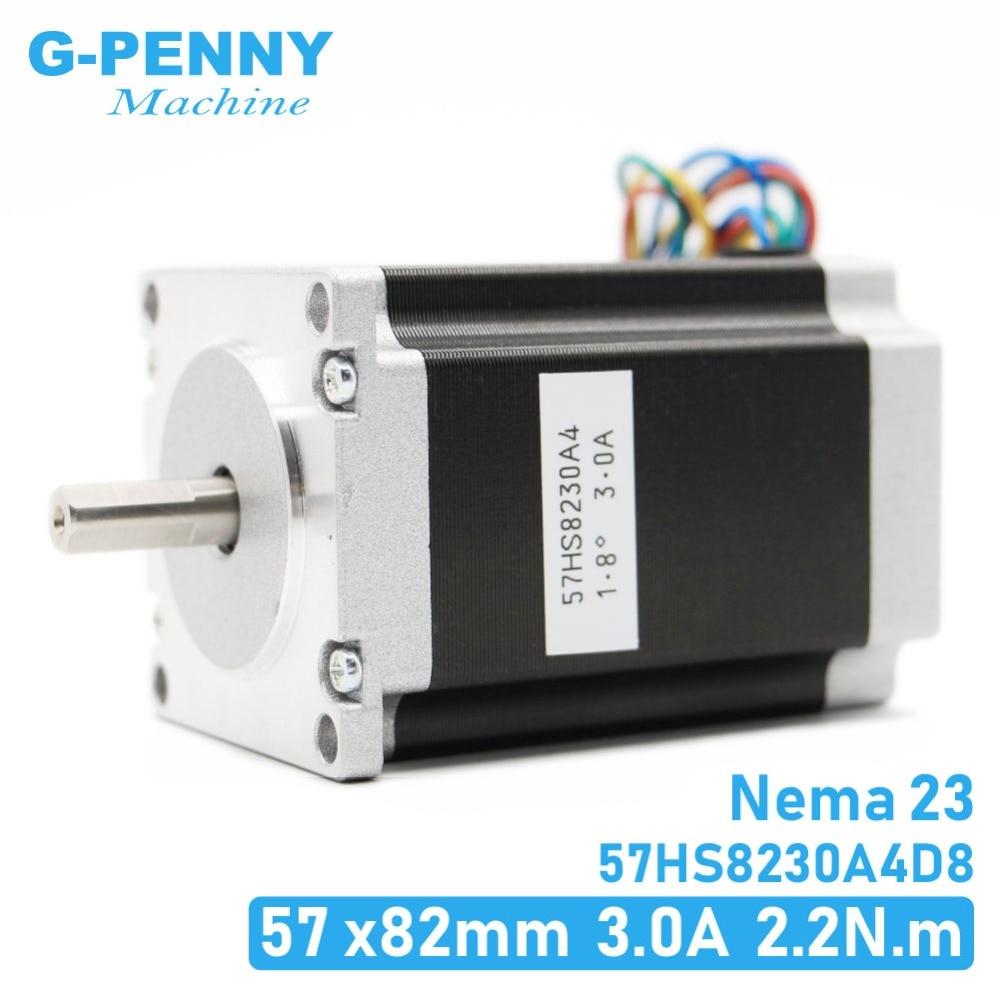 23 CNC Stepper motor NEMA 57x82mm 3A 2.2N.m D = 8 milímetros 6.35 milímetros 315Oz-in Nema23 CNC router Gravura fresadora 3D impressora