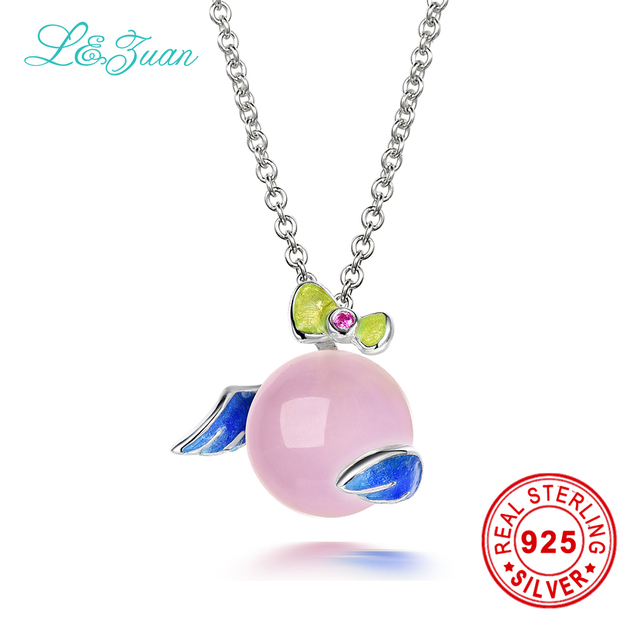 Aliexpress buy lzuan 925 sterling silver jewelry necklace lzuan 925 sterling silver jewelry necklace natural rose quartz real enamel angel wing pendant for mozeypictures Image collections