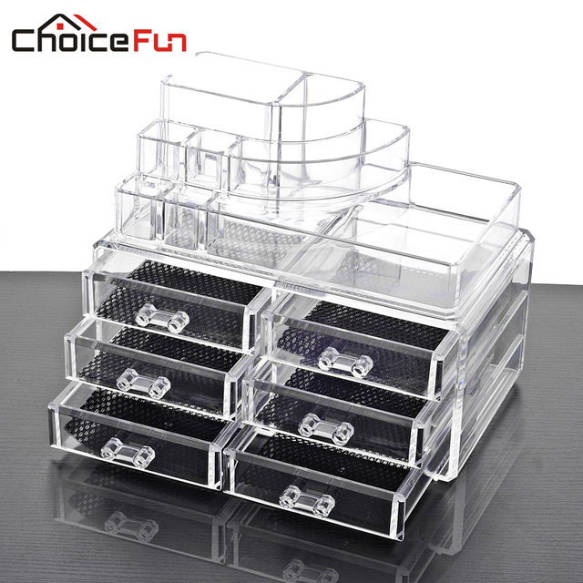 CHOICE FUN Makeup Organizer Acrylic Storage Box Clear Cosmetic Drawers  Jewelry Drawer Plastic Box Organizer SF