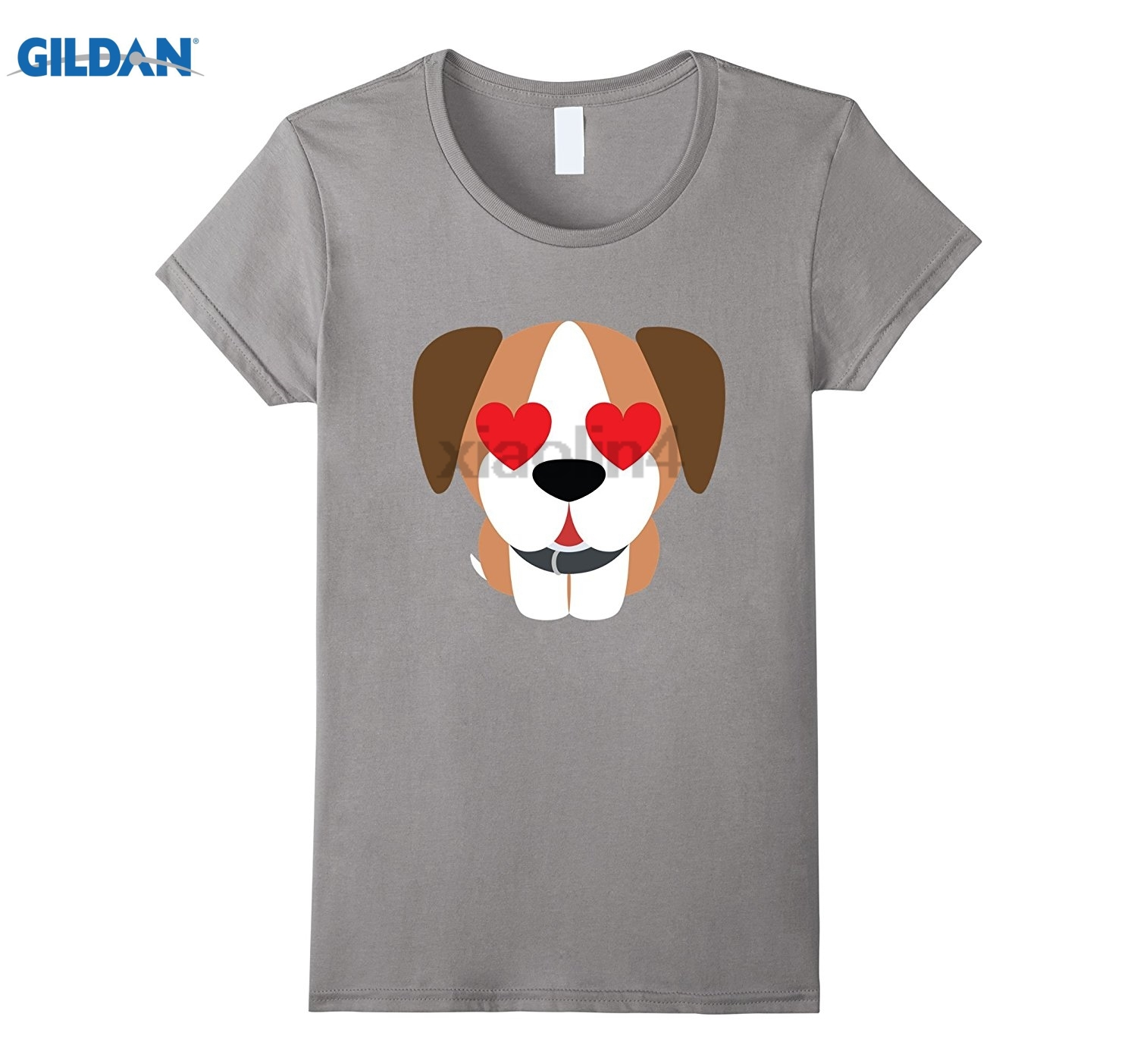GILDAN Boxer Dog Emoji Heart & Love Eye Shirt T-Shirt Tee Summer novelty cartoon T-shirt glasses Womens T-shirt