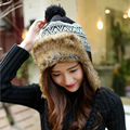 2017 New Fashion Knitted Winter Earflaps Caps Women Outdoor Ski Cap Faux Fur Bomber Hat Ear Flap Cap Casual Winter Riding Hat