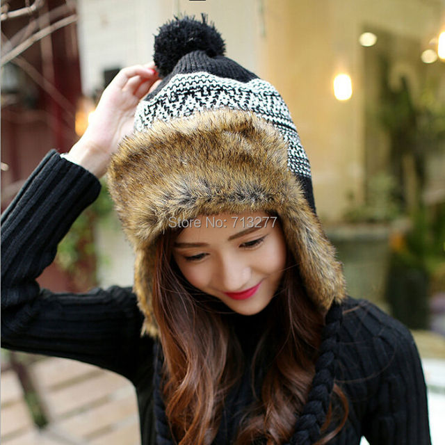 4e89c57d54a HT408 Fashion Knitted Winter Earflaps Caps Women Faux Fur Bomber Hat Ear  Flap Cap Casual Winter
