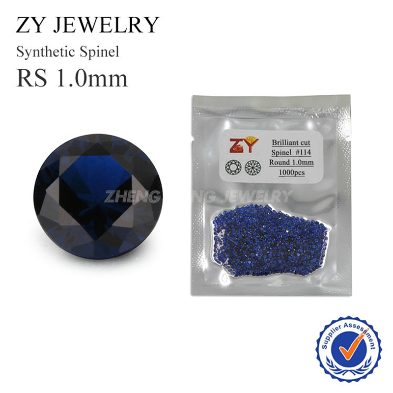 Hot Sale 1000pcs per lot 1.0mm Round Brilliant Cut 114# Blue Synthetic Spinel Lab Created Stone For Jewelry
