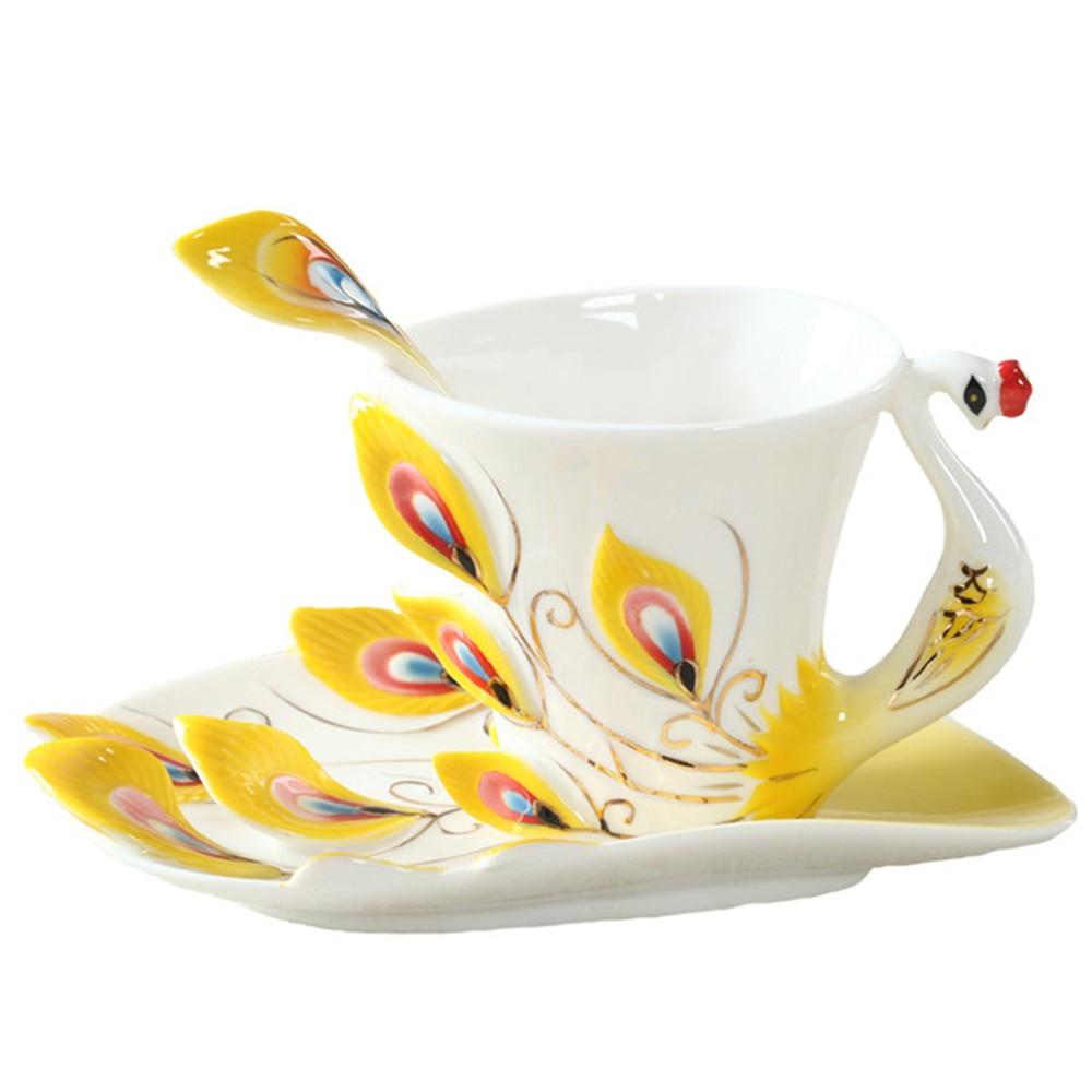 Enamel coffee mugs teh cawan dan mug dengan sudu saucer menetapkan - Dapur, makan dan bar - Foto 5