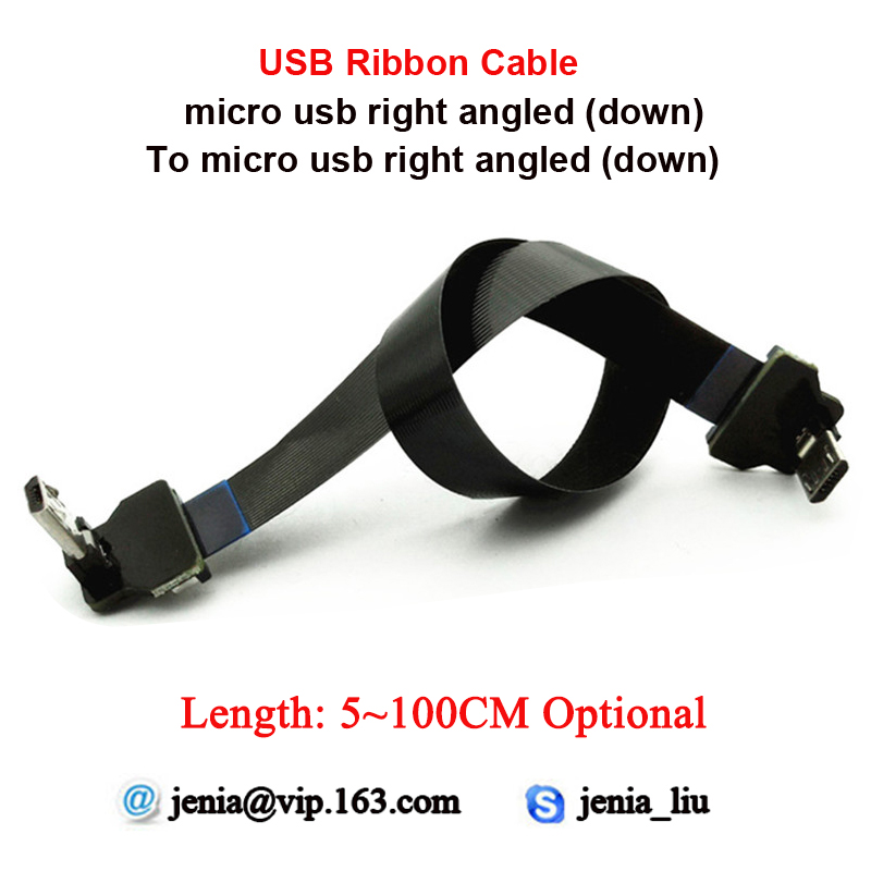 5/10/15/20/30/40/50/60/80/100CM Flexible Slim Flat FFC USB Cable Micro Down Angled Male To Micro Down Angled Ultra Thin Cable