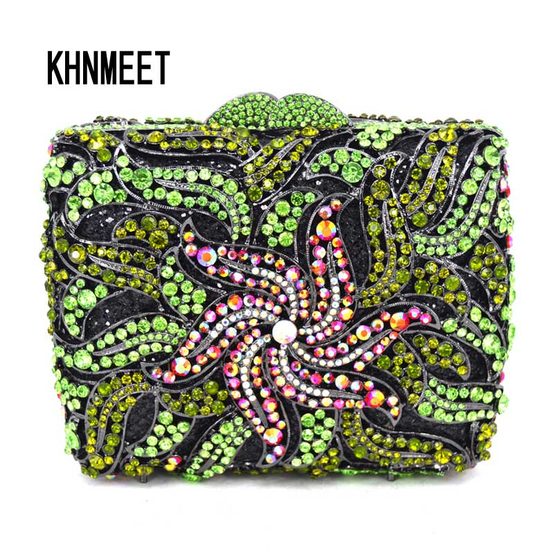 Luxury Fashion Green Crystal Evening Clutch Bag Women Wedding Flower Day Clutches Pink Female banquet Boutique Party Purse SC485 luxury real new arrival day clutches diamonds flower women bag banquet crystal handbag wedding party handbags night clubs purse