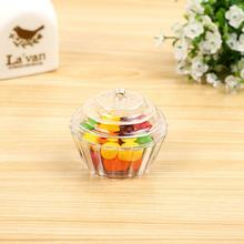 20 Pcs/lot PVC Birthday Gift Box Transparent Ice Cream Cake Cup Shape Wedding Chocolate Candy Boxes Event Sweet Box