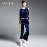 ZIYI Casual Pullover Women S Sets 2017 Autumn New Pullover Fight Color Tops Cloth Leisure Striped