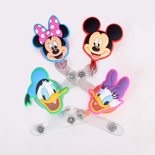 60cm Foreign trade Mini Cartoon Animals Retractable Badge Reel for Bus Bank Credit Card Holder ID Holders недорого