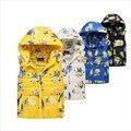 Os Recém-chegados 3-10Yrs Crianças Cotton Brasão & Outwear, Meninos jaqueta Quente Bonito Dos Desenhos Animados Do Bebê, Crianças Inverno Outwear Quente 4 Cor