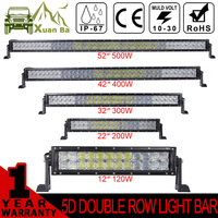 XuanBa 5D LED Light Bar 300W 400W 500W 32'' 42'' 52 inch Straight Offroad LED Bar Light For SUV 4W ATV Boat Truck 12V 24V Combo