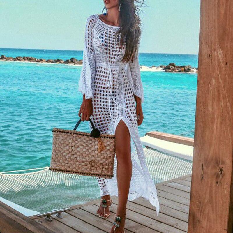 Évider Tuniques pour caftan de plage Crochet Cover-ups Sexy Blanc sarong de plage paréo Up à manches longues robe de plage 2019 Nouveau
