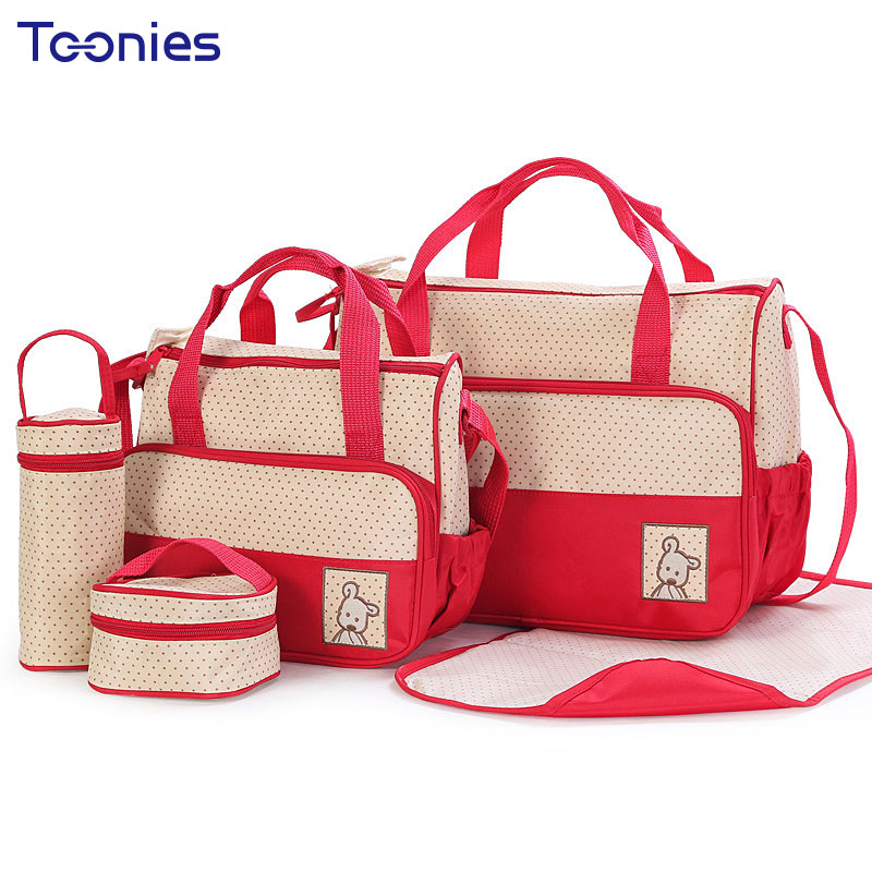 5PCS/Set Women Messenger Bags Multifunction Backpack Diaper Bag Outdoor Women Bag Fashion Design Mommy Baby Bags High Quality