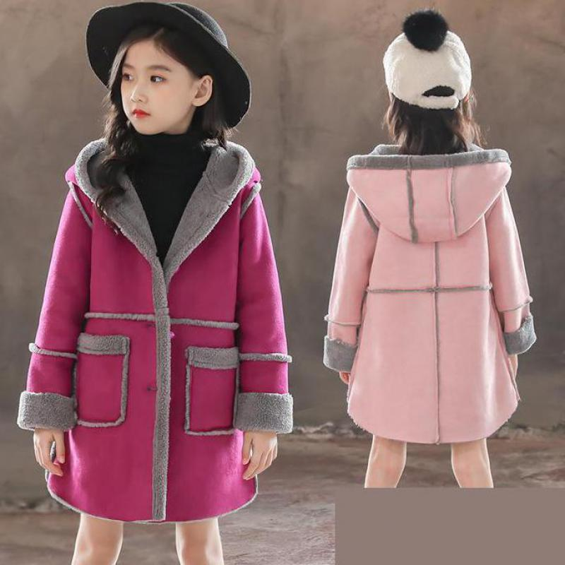 2019 Toddler Girls Jackets Waterproof Outdoor Children's Clothing Sports Casual Hooded Coat Fleece Warm Outerwear 10 12 14 Years