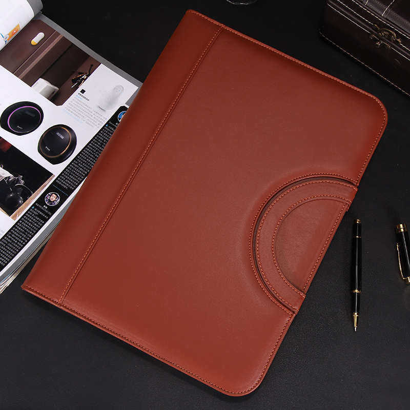 A4 PU Leather File Folder With Handles Women's Men's Document Bag A4 Document Zipper Bag Padfolio With Calculator Clip 1209C