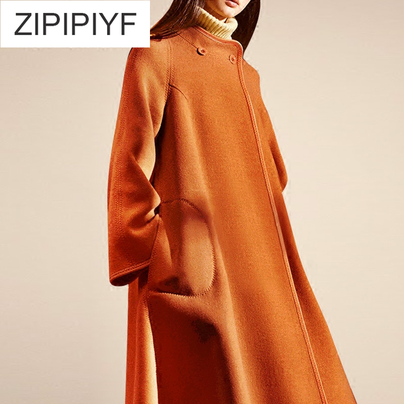 Winter Fashion Wool Overcoat Warm Outerwear Women Elegant Slim Coat Turn Down Collar Long Sleeve Female