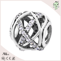 Luxury Brand Women Chic Fashion Jewelry 925 Sterling Silver Charms European US CZ Pave Beads Zircon