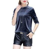 Harajuku Women T Shirt Slim Long Sleeve Stand Collar Velvet T Shirt Female Tops Plus Size