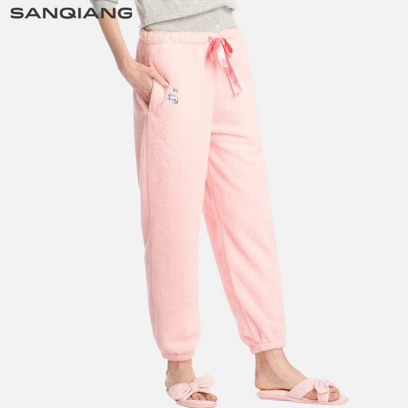 SANQIANG 2018 Winter New Flannel Sleep Pants Flannel Pajama Bottoms Rabbit Embroidery Women Lounge Pants Lingerie Pijama Trouser