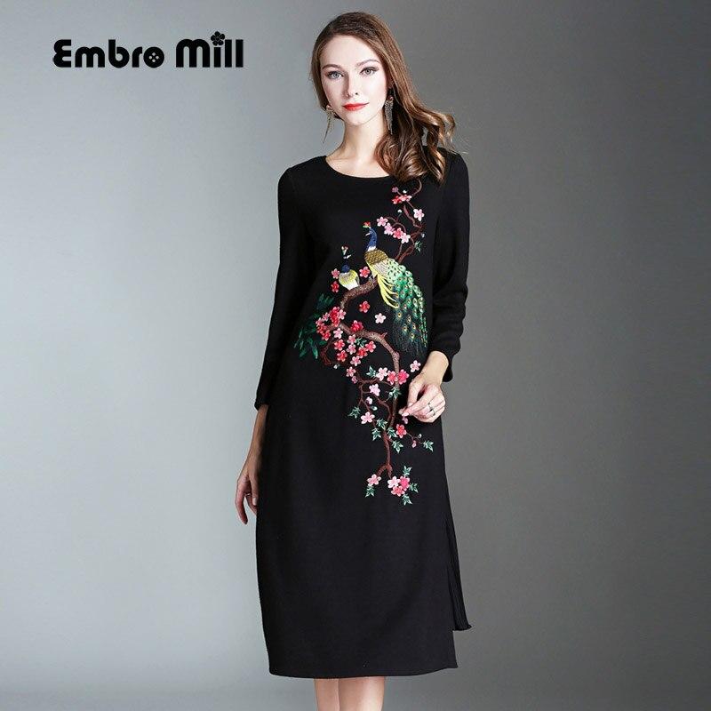 2017 Осень Зима платье китайский стиль старинные королевская вышивка плюс Размер кролика волосы платье элегантный леди трикотажное платье М-4xl