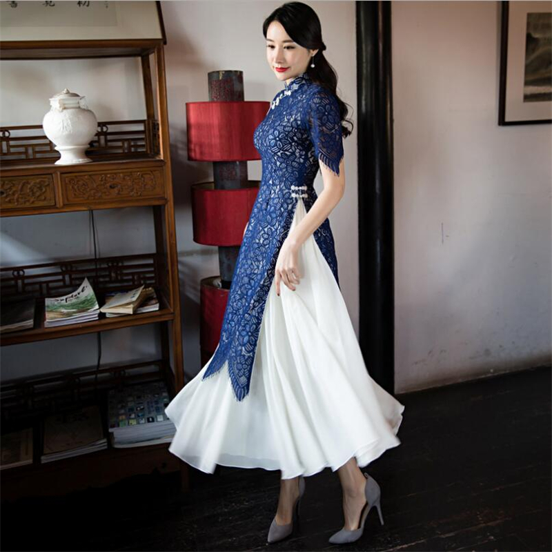 2019 Luxury Lace ao dai Dresses Women clothes Sexy vietnam traditional cheongsam Suit two piece modified