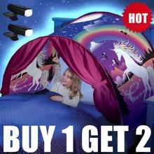 Купите 1 тент GE 2 светодиодный лучший подарок для детей, детские палатки для сна с 2 светлыми двойными размерами, Детские Зимние Волшебные леса чудес