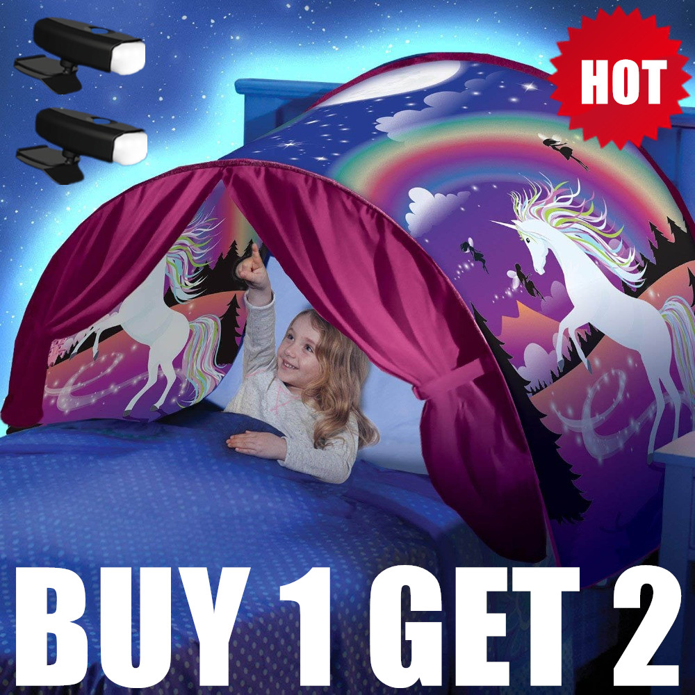BUY 1 TENT GE 2 LED Best Gift For Kids Children Dream Tents With 2 Light Twin Size Children Kid Winter Wonderland Magic Forest