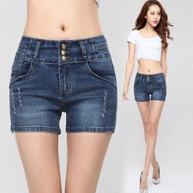 Большие размеры винтажные Летние Короткие повседневные джинсы с высокой талией женские джинсовые шорты женские сексуальные джинсовые шорты - Цвет: Синий