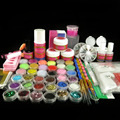 Full Acrylic Powder Liquid Sticker Forms Glitter Sheets Rhinestones Primer Cuticle Oil Brush Nail Art Kits Set N010