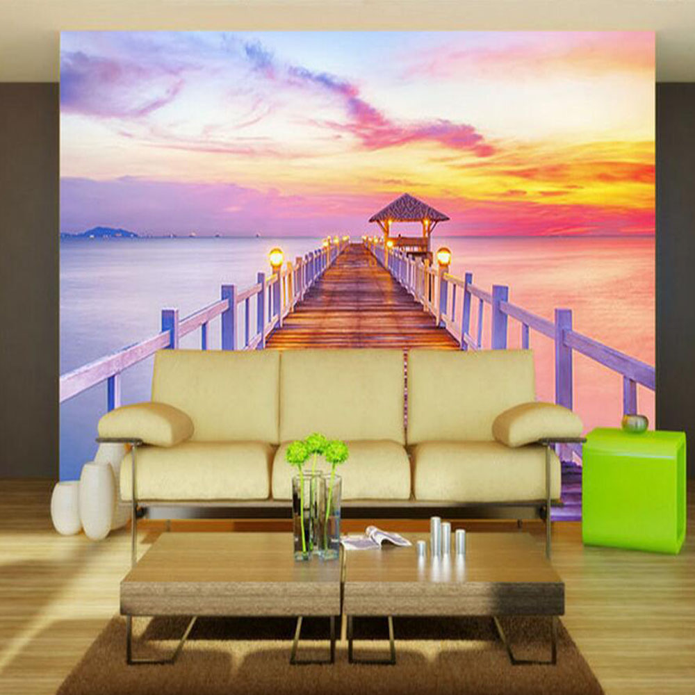 European Wallpaper Colorful Beach Mural Photo Wallpaper Living Room ...