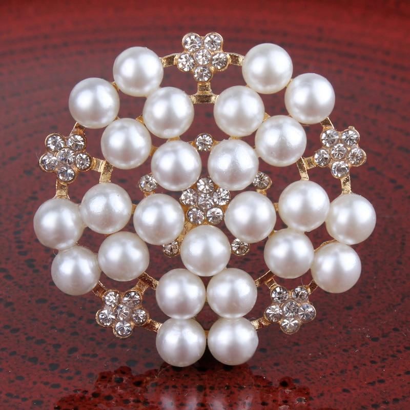 120PCS 33mm Newborn Round Flatback Metal Rhinestone Craft Supplies Button Shiny Pearl Beads Decorative Buttons for