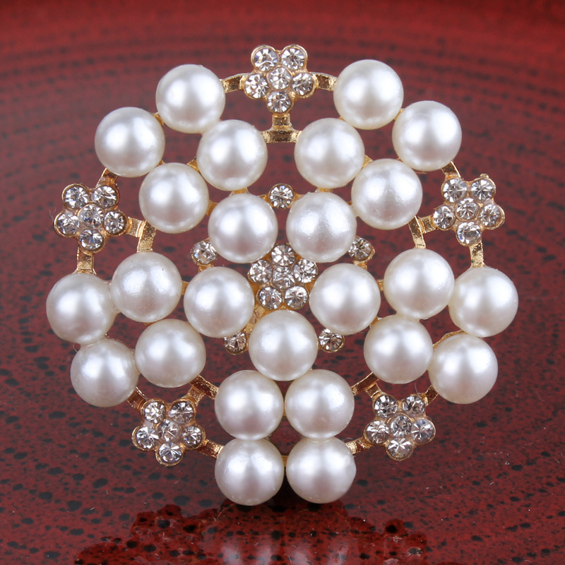 120PCS 33mm Newborn Round Flatback Metal Rhinestone Craft Supplies Button Shiny Pearl Beads Decorative Buttons for Flower Center-in Buttons from Home & Garden    1