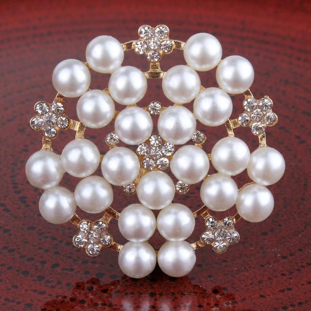 120PCS 33mm Newborn Round Flatback Metal Rhinestone Craft Supplies Button  Shiny Pearl Beads Decorative Buttons for Flower Center d5ebf769b351