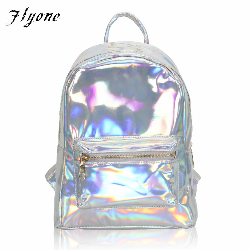 Flyone Newest Silver Hologram Laser Backpack Girl School Shoulder Bags For Teenage Girls Women Mochilas Feminina Gifts FY0165