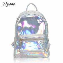 693a9056f2b57 Flyone Yeni Gümüş Hologram Lazer Sırt Çantası Kız Okul omuz çantaları Genç  Kızlar Kadınlar Için Mochilas