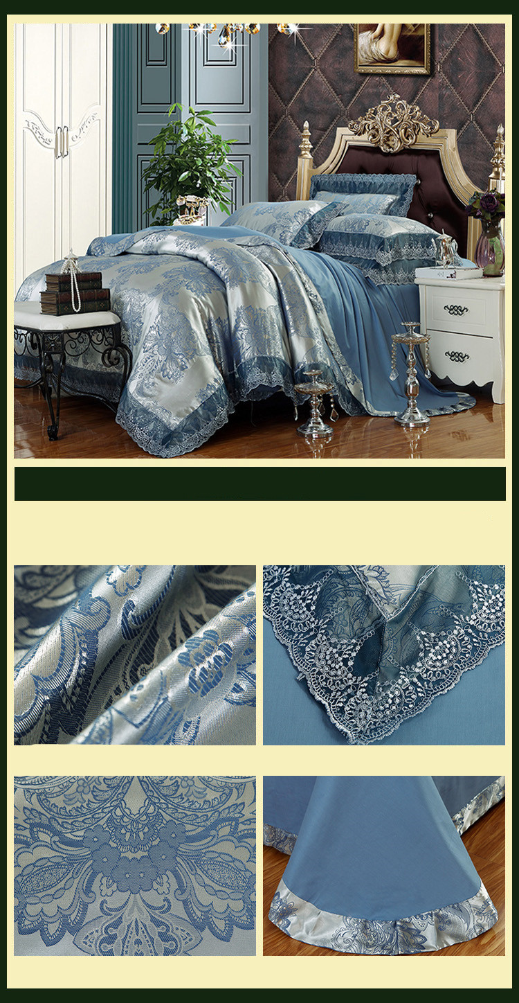 New Luxury Embroidery Tinsel Satin Silk Jacquard Bedding Set, Queen, King Size, 4pcs/6pcs 19