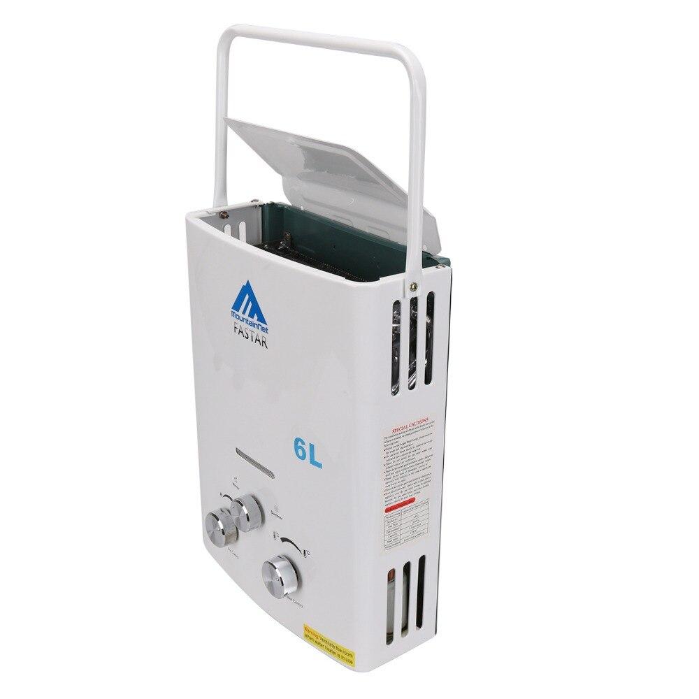Ue livraison gratuite mise à jour 6L LPG Propane gaz sans réservoir chaudière instantanée Camping en plein air randonnée chauffe-eau avec pomme de douche - 5