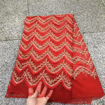 Lucky red lace fabric sewing supplies wholesale african french lace fabric high quality with stones and beads 5yard/lot HJ171-2