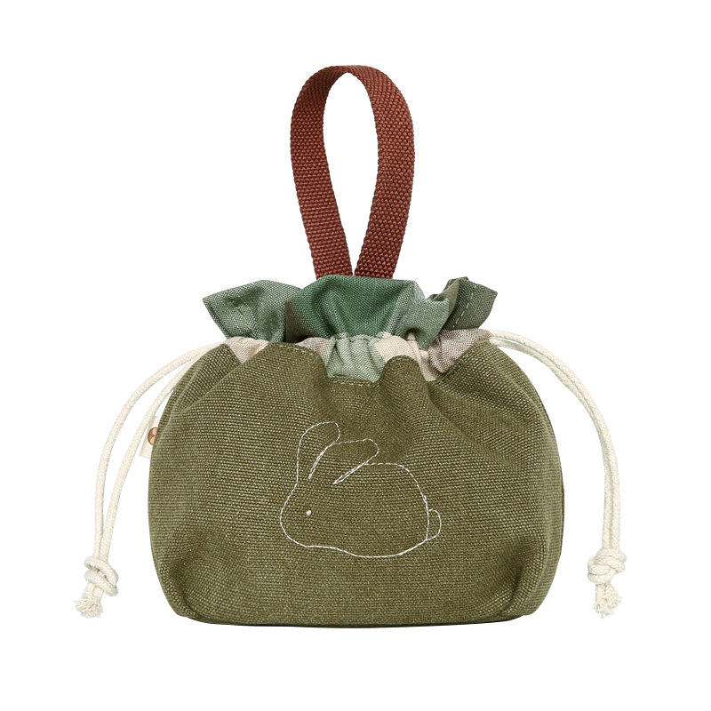 Female Handbag Female Casual Drawstring Bag Canvas Bag Girl Mobile Phone Storage Bag
