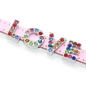 Image 2 - 1300 шт./лот 8 мм Красочные Стразы Слайд буквы подходят 8 мм DIY браслет ювелирные изделия LSSL015