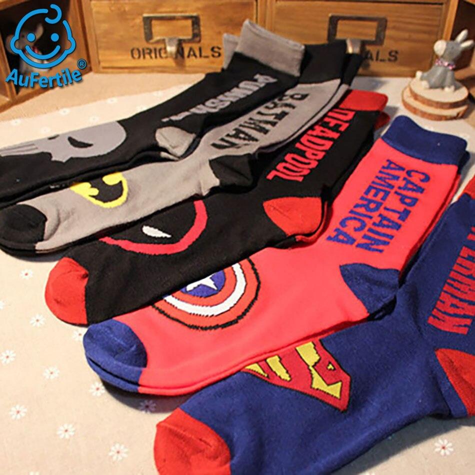 5 pairs 100% Cotton summer Ankle socks American Super hero Invisible Crew Socks Breathable Couple Boat Socks men Short socks