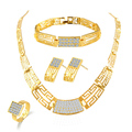 Hot Sale One Set Luxury Jewelry Sets Yellow Gold Filled Necklace+ Earrings+Ring+Bracelet Vintage Jewelry Sets Free Shipping