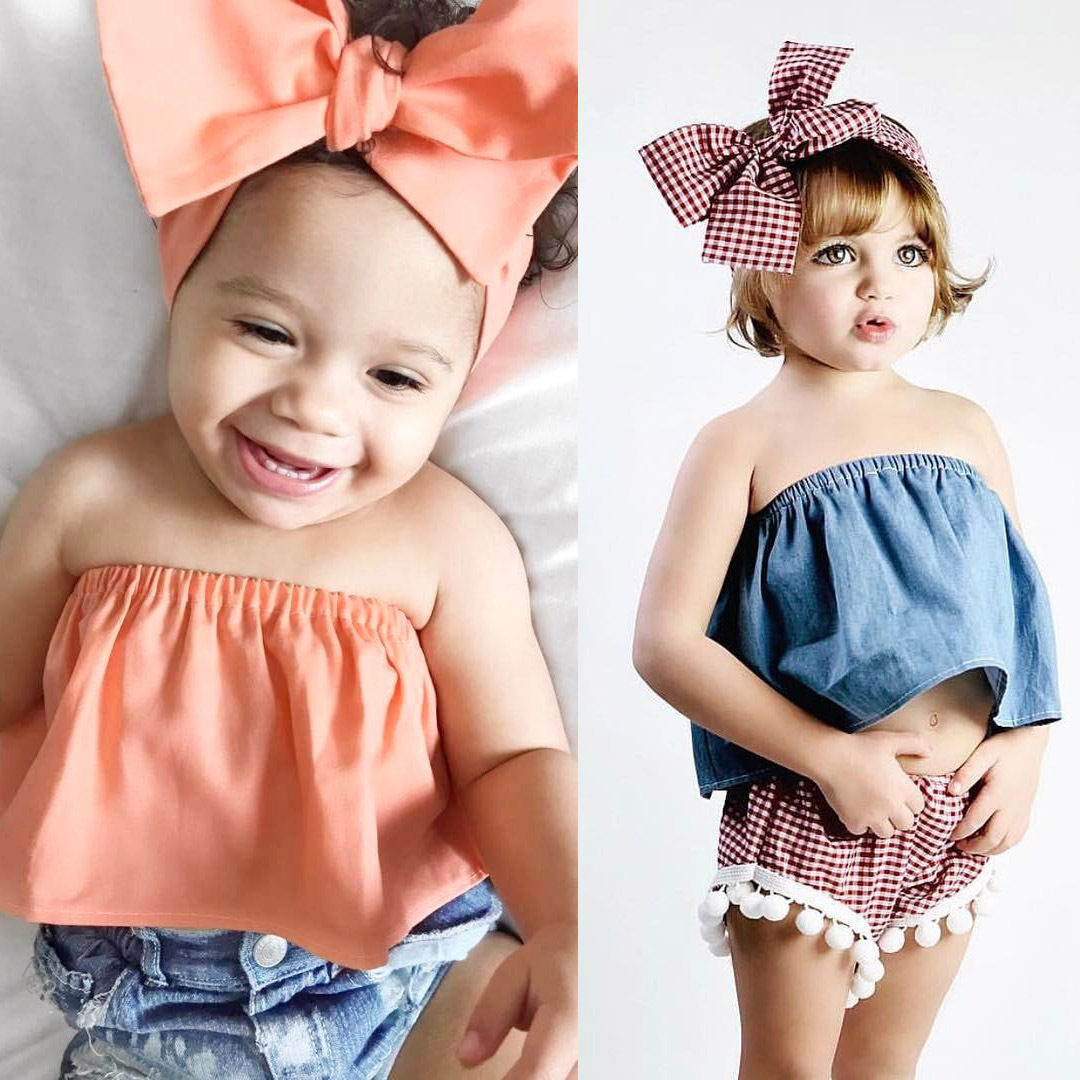 2017 New Brand Fashion Toddler Infant Kids Baby Girl Summer Clothes Bowknot Headband Sleeveless Shirt 2Pcs 1-6T new fashion suspender with sleeveless shirt suit for girl