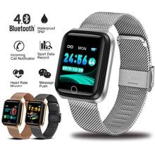 LIGE New Smart Bracelet IP67 Waterproof Fitness Tracker Heart Rate Monitor Pedometer gold plated Strap Smart Electronic Clock