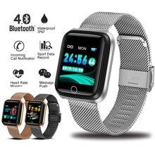 LIGE nouveau Bracelet intelligent IP67 étanche Tracker de Fitness moniteur de fréquence cardiaque podomètre Bracelet plaqué or horloge électronique intelligente